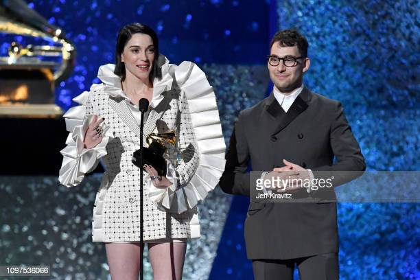 Jack Antonoff and St. Vincent accept award for Best Rock Song onstage at the premiere ceremony during the 61st Annual GRAMMY Awards at Microsoft...