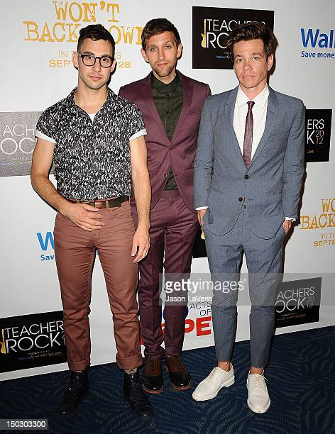 """Jack Antonoff, Andrew Dost and Nate Ruess of the band fun. Attend the """"Teachers Rock"""" benefit at Nokia Theatre L.A. Live on August 14, 2012 in Los..."""