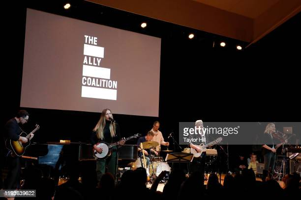 Jack Antonoff Emily Robison Natalie Maines and Martie Maguire of The Dixie Chicks perform during the 6th Annual Ally Coalition Talent Show at Town...