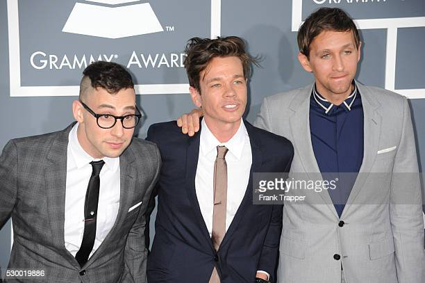 Jack Antonoff Nate Ruess and Andrew Dost from the band 'Fun arrive at the 55th Annual Grammy Awards held at the Staples Center in Los Angeles