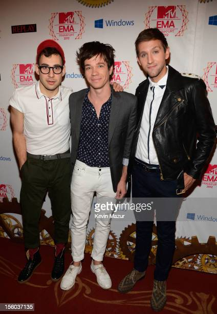 Jack Antonoff Nate Ruess and Andrew Dost of Fun attend the MTV EMA's 2012 at Festhalle Frankfurt on November 11 2012 in Frankfurt am Main Germany