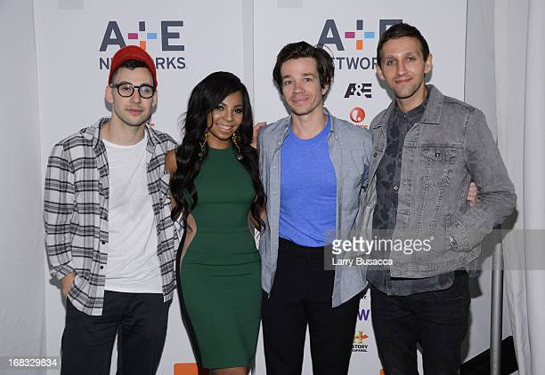 Jack Antonoff Nate Ruess and Andrew Dost of the band fun pose with Ashanti at the AE Networks 2013 Upfront on May 8 2013 in New York City
