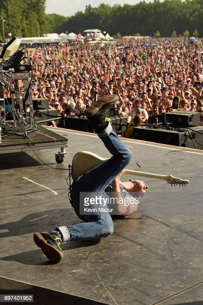 Jack Antonoff of Bleachers performs in the crowd during the 2017 Firefly Music Festival on June 18 2017 in Dover Delaware