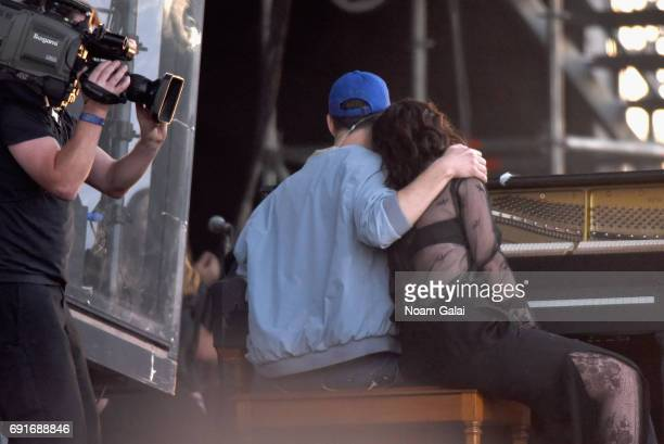 Jack Antonoff performs with Lorde onstage during the 2017 Governors Ball Music Festival Day 1 at Randall's Island on June 2 2017 in New York City