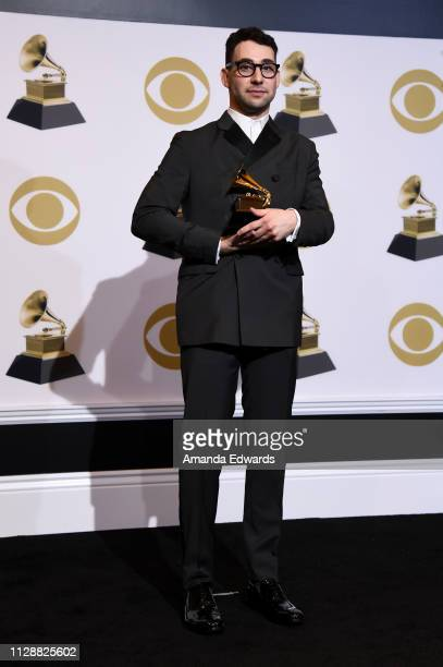 Jack Antonoff, winner of Best Rock Song for 'Masseduction,' poses in the press room during the 61st Annual GRAMMY Awards at Staples Center on...