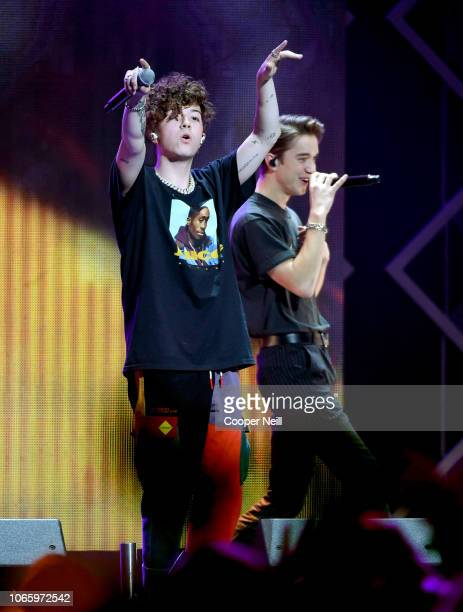 Jack Avery and Daniel Seavey of Why Don't We perform onstage during 1061 KISS FM's Jingle Ball 2018 at American Airlines Center on November 27 2018...