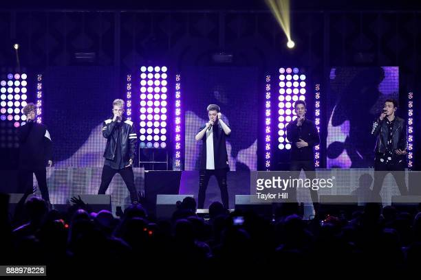 Jack Avery Corbyn Besson Zach Herron Daniel Seavey and Jonah Marais of Why Don't We perform during the 2017 Z100 Jingle Ball at Madison Square Garden...