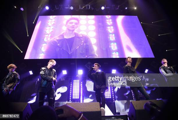 Jack Avery Zach Herron Daniel Seavey Corbyn Besson and Jonah Marais of Why Don't We perform during Power 961's iHeartRadio Jingle Ball 2017 at...