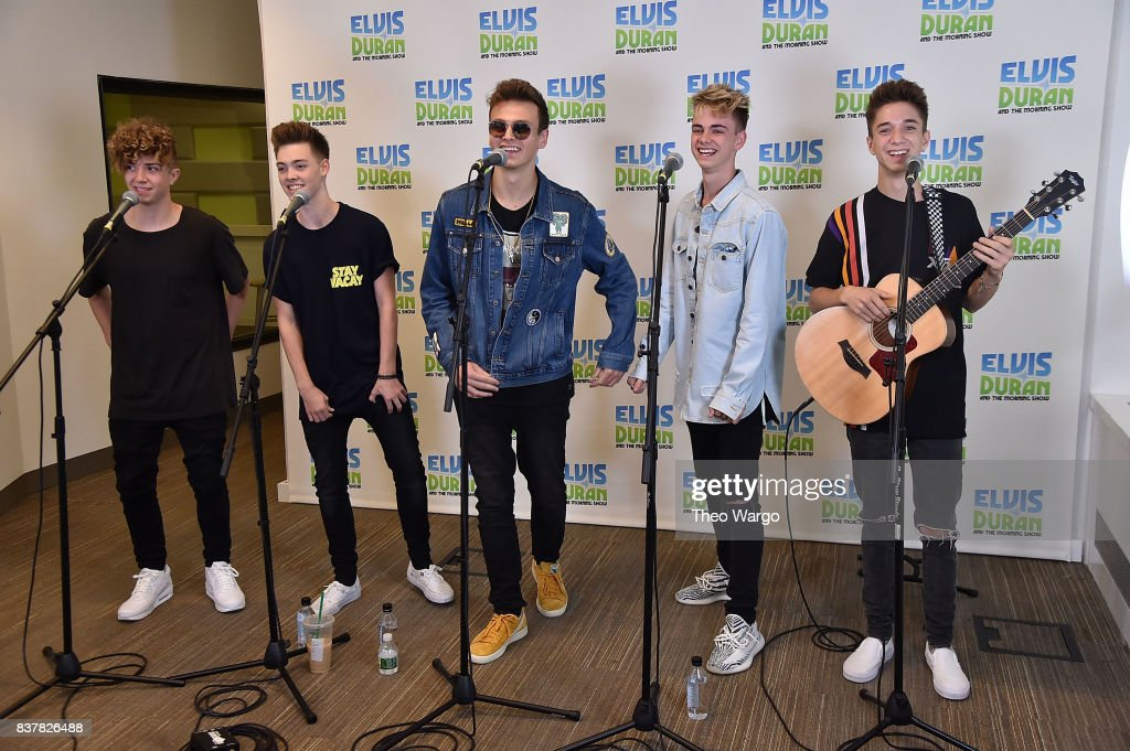 Jack Avery, Zach Herron, Jonah Marais, Corbyn Besson and Daniel Seavey of Why Don't We Visit 'The Elvis Duran Z100 Morning Show' at Z100 Studio on August 23, 2017 in New York City.
