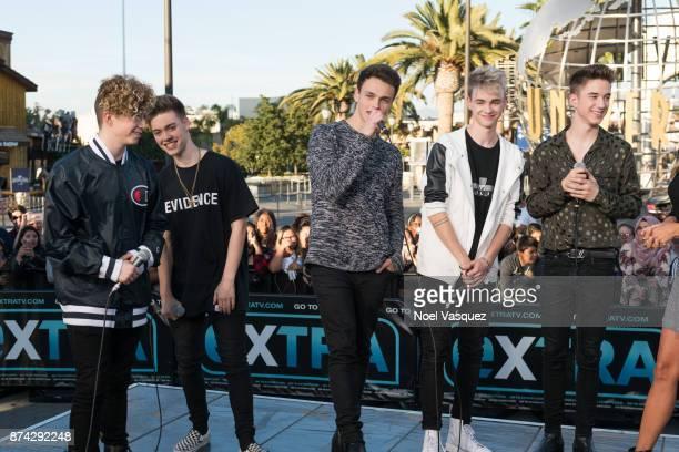 Jack Avery Zach Herron Jonah Marais Corbyn Besson and Daniel Seavey of Why Don't We visit 'Extra' at Universal Studios Hollywood on November 14 2017...