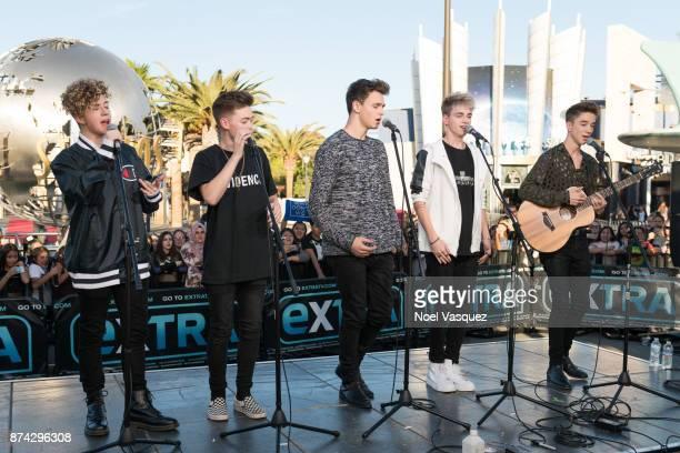 Jack Avery Zach Herron Jonah Marais Corbyn Besson and Daniel Seavey of Why Don't We perform at 'Extra' at Universal Studios Hollywood on November 14...