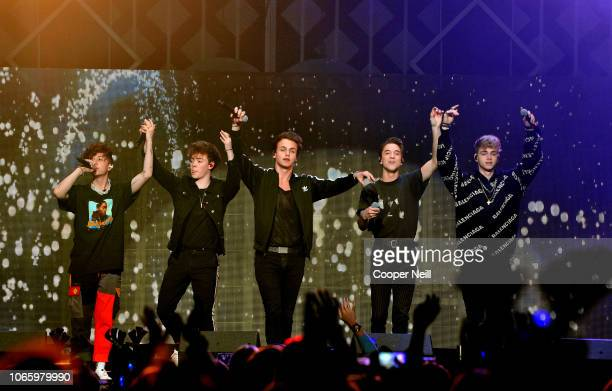 Jack Avery Zach Herron Jonah Marais Daniel Seavey and Corbyn Besson of Why Don't We perform onstage during 1061 KISS FM's Jingle Ball 2018 at...