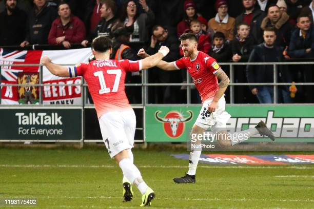 Jack Baldwin of Salford City FC celebrates after scoring his sides first goal during the Sky Bet League 2 match between Salford City and Northampton...