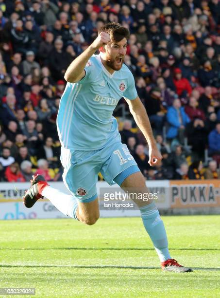 Jack Baldwin of Sunderland celebrates after he scores the second of his teams goals during the Sky Bet League One match between Bradford City and...