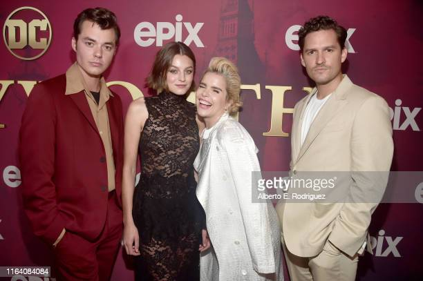 Jack Bannon Emma Corrin Paloma Faith and Ben Aldridge attend the premiere of Epix's Pennyworth at Harmony Gold on July 24 2019 in Los Angeles...
