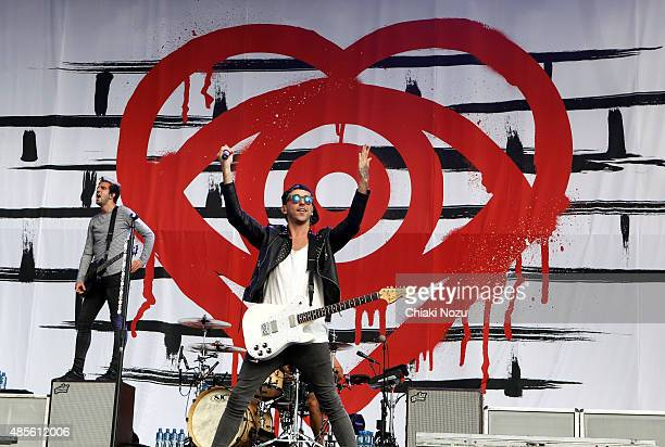 Jack Barakat and Alex Gaskarth of All Time Low perform on Day 1 of The Reading Festival at Richfield Avenue on August 28 2015 in Reading England