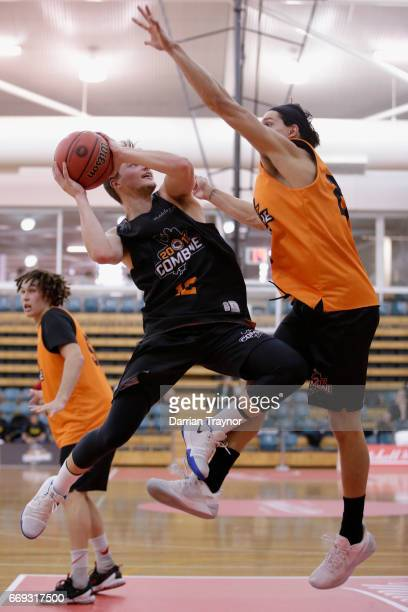 Jack Barry drives to the basket during the NBL Combine 2017/18 at Melbourne Sports and Aquatic Centre on April 17 2017 in Melbourne Australia
