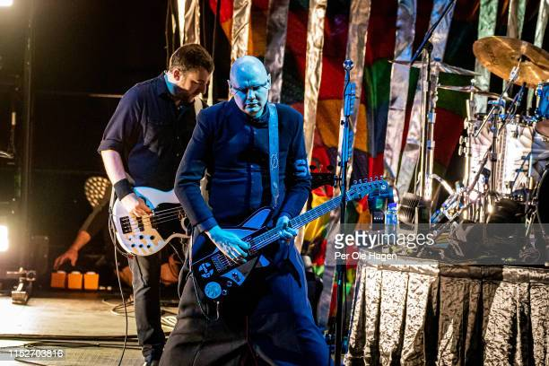 Jack Bates and Billy Corgan of Smashing Pumpkins perform at Oslo Spektrum on May 30 2019 in Oslo Norway