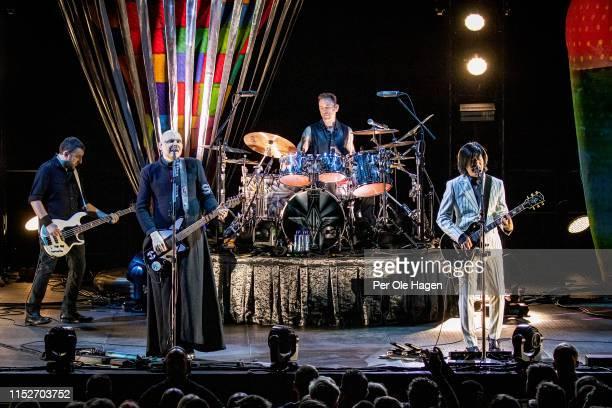 Jack Bates Billy Corgan Jimmy Chamberlin and James Iha of Smashing Pumpkins perform at Oslo Spektrum on May 30 2019 in Oslo Norway
