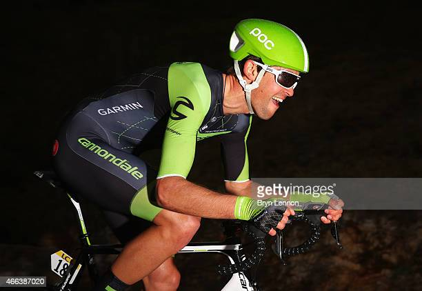 Jack Bauer of New Zealand and Team Cannondale-Garmin competes during stage seven, the individual time trial of the Paris - Nice cycling race between...