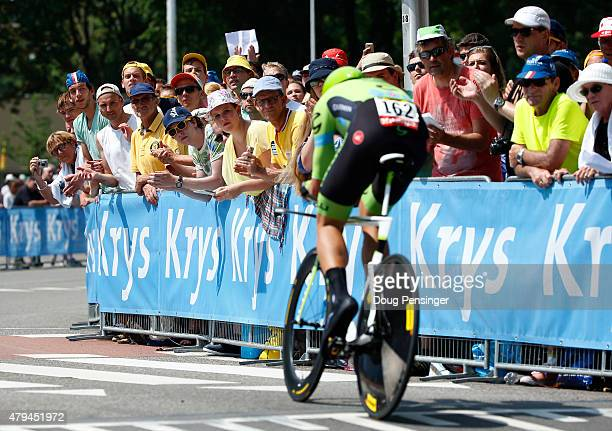 Jack Bauer of New Zealand and Team Cannondale-Garmin is cheered on by the fans during stage one of the 2015 Tour de France on July 4, 2015 in...