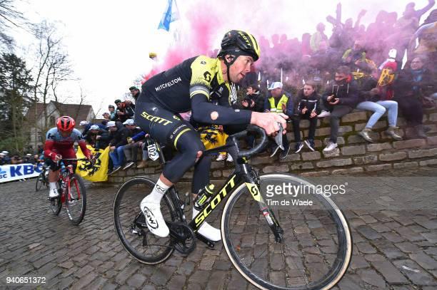 Jack Bauer of New Zealand and Team Michelton Scott / Injury / Wall of Geraardsbergen / De Muur / Fans / Public / during the 102nd Tour of Flanders...
