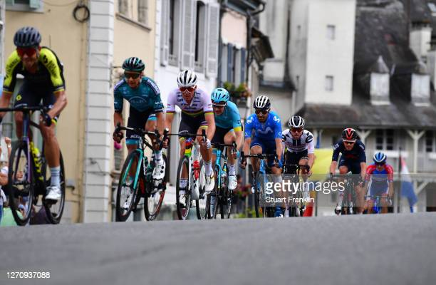 Jack Bauer of New Zealand and Team Mitchelton - Scott / Bryan Coquard of France and Team B&B Hotels - Vital Concept / Mads Pedersen of Denmark and...