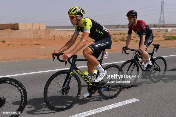 Jack Bauer of New Zealand and Team Mitchelton Scott / Salvatore Puccio of Italy and Team INEOS / during the 6th UAE Tour 2020 Stage 5 a 162km stage...