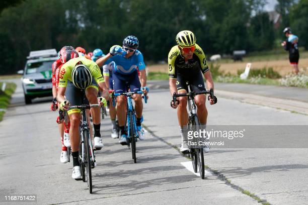 Jack Bauer of New Zealand and Team MitcheltonScott / Carlos Verona of Spain and Movistar Team / Ludovic Robeet of Belgium and Team Wallonie Bruxelles...