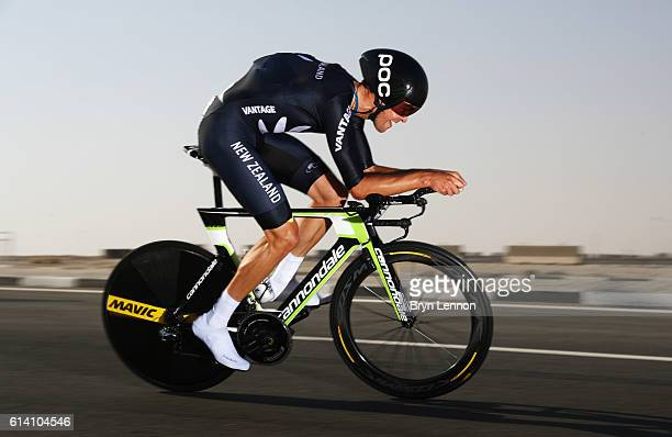 Jack Bauer of New Zealand rides during the Men's Elite Individual Time Trial on Day Four of the UCI Road World Championships at Lusail Sports Complex...