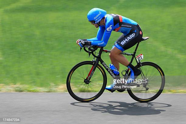 Jack Bauer of New Zealand riding for Garmin-Sharp competes during stage seventeen of the 2013 Tour de France, a 32KM Individual Time Trial from...
