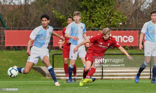 Jack Bearne of Liverpool and Jalil Saadi of Blackburn Rovers in action during the U18 Premier League game at The Kirkby Academy on March 2 2019 in...