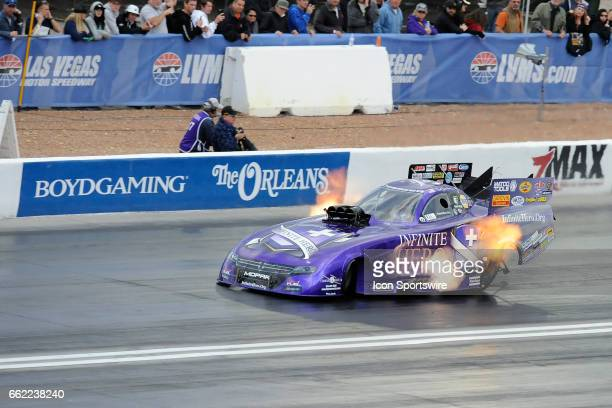 Jack Beckman Don Schumacher Racing Dodge Charger NHRA Funny Car runs in the second round of qualifying for the18th Annual DENSO Spark Plugs NHRA...
