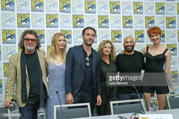 Jack Bender Justine Lupe Jack Huston Nancy Travis Maximiliano Hern‡ndez and Breeda Wool attend the Official Mr Mercedes Panel At 2018 San Diego...