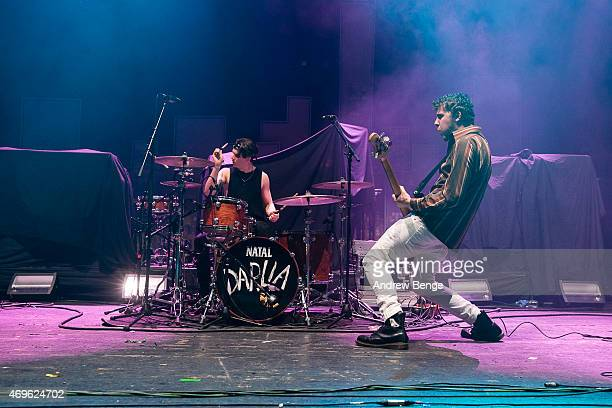 Jack Bentham and Dave Williams of The Wombats perform on stage at Brixton Academy on April 13 2015 in London United Kingdom
