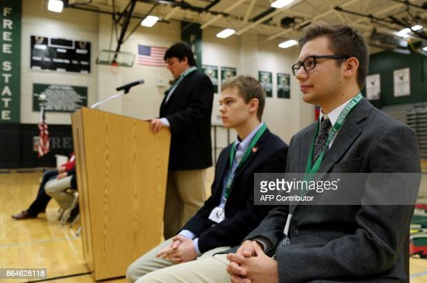 Jack Bergeson 16 of Wichita Kansas speaks during a forum with the four teenage candidates for Kansas Governor at Free State High School in Lawrence...