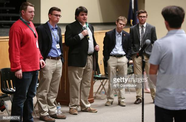 Jack Bergeson of Wichita Kansas flanked by his running mate Lt Governor Candidate Alexander Cline of Wichita Ethan Randleas of Wichita Tyler Ruzich...