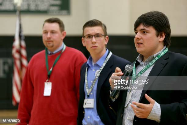 Jack Bergeson of Wichita Kansas speaks during a forum with some of the four teenage candidates for Kansas Governor at Free State High School in...
