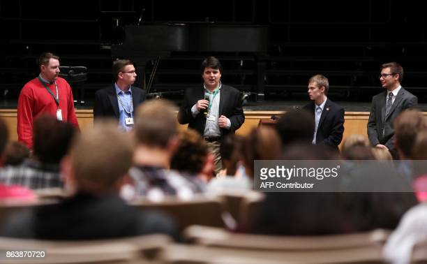 Jack Bergeson of Wichita Kansas speaks during a forum with the three other teenage candidates Ethan Randleas of Wichita Jack's running mate Lt...