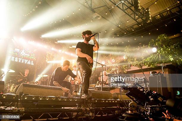 Jack Bevan and Yannis Philippakis of Foals perform onstage headlining day 3 of the BBC 6 Music Festival at Motion on February 14 2016 in Bristol...