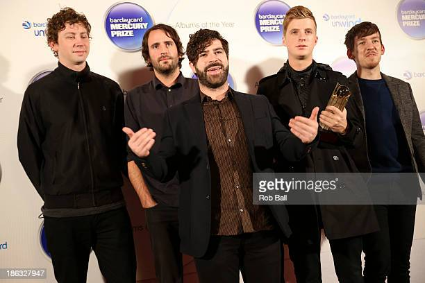 Jack Bevan Jimmy Smith Yannis Philippakis Walter Gervers and Edwin Congreave of Foals attends the Barclaycard Mercury Prize at The Roundhouse on...