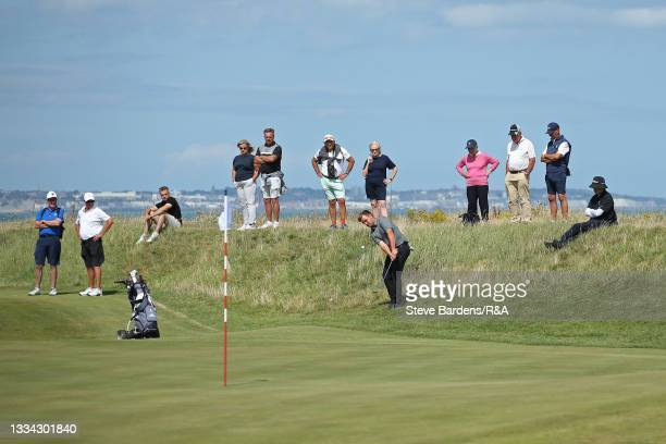 Jack Bigham of Harpenden plays a chip shot onto the 6th green during the Final of the R&A Boys Amateur Championship at Royal Cinque Ports Golf Club...