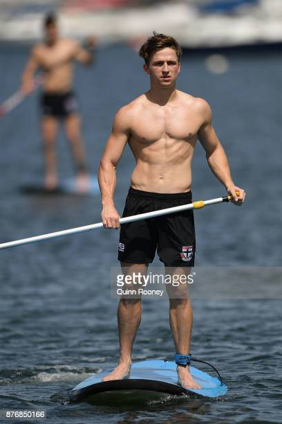 Jack Billings of the Saints does stand up paddleboarding during a St Kilda Saints AFL training session at Catani Gardens on November 21 2017 in...