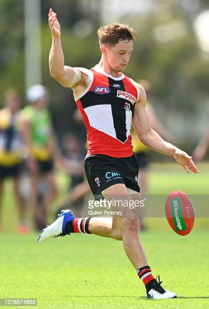Jack Billings of the Saints kicks during a St Kilda Saints AFL training session at Maroochydore Multi Sport Complex on September 25 2020 in Sunshine...