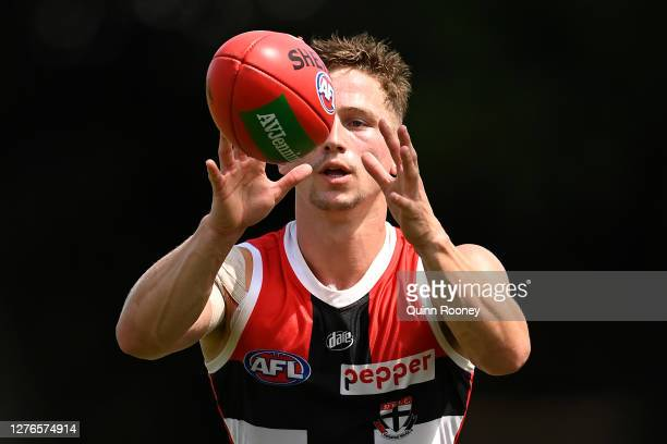 Jack Billings of the Saints marks during a St Kilda Saints AFL training session at Maroochydore Multi Sport Complex on September 25 2020 in Sunshine...