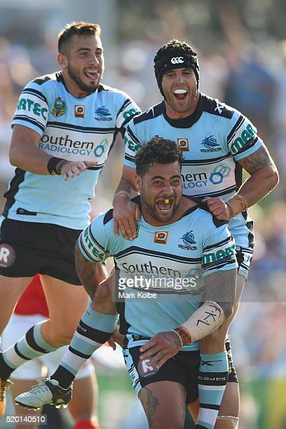 Jack Bird Michael Ennis and Andrew Fifita of the Sharks celebrate Andrew Fifita scoring a try during the round six NRL match between the Cronulla...