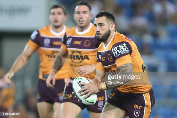Jack Bird of the Broncos runs the ball during the NRL Trial match between the Brisbane Broncos and the Gold Coast Titans at Cbus Super Stadium on...