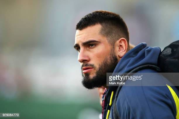 Jack Bird of the Broncos watches on before the round one NRL match between the St George Illawarra Dragons and the Brisbane Broncos at UOW Jubilee...