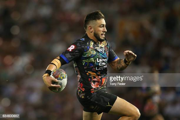 Jack Bird of the indigenous All Stars runs in to score a try during the NRL All Stars match between the 2017 Harvey Norman All Stars and the NRL...