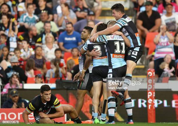 Jack Bird of the Sharks celebrates scoring a try with team mates during the round seven NRL match between the Penrith Panthers and the Cronulla...